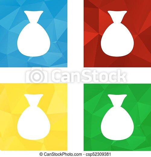Low polygonal triagonal button with flat white icon for money bag - csp52309381