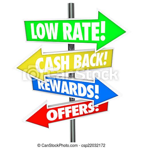 Low Rate Cash Back Rewards Offer Arrow Signs Best Credit Card De - csp22032172