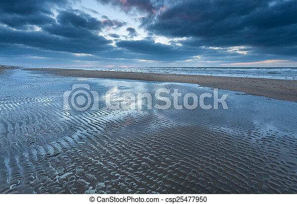 low tide on North sea beach - csp25477950