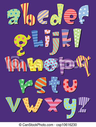 Lower case comic alphabet - csp10616230