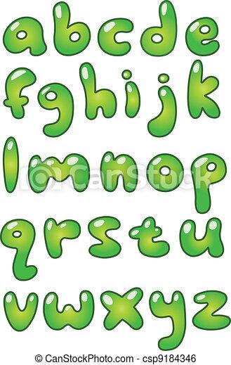 Lower Case Eco Bubble Alphabet Green Lower Case Bubble Shaped Alphabet