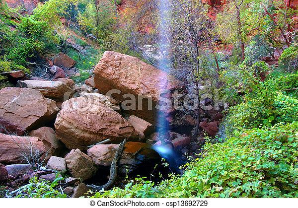 Lower Emerald Pool Waterfall Utah - csp13692729
