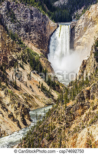 Lower Falls in Yellowstone National Park - csp74692750