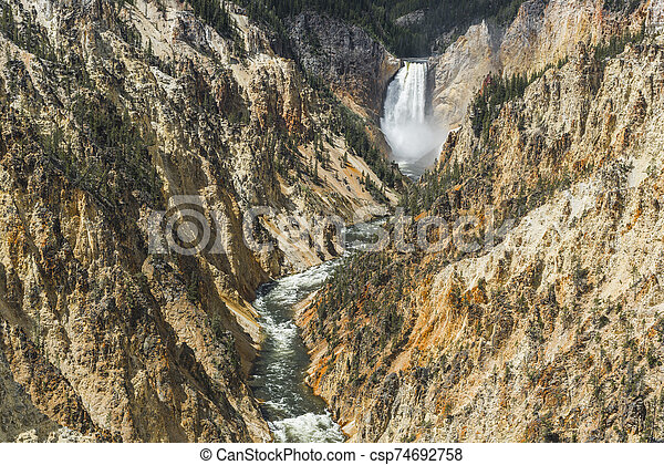 Lower Falls in Yellowstone National Park - csp74692758