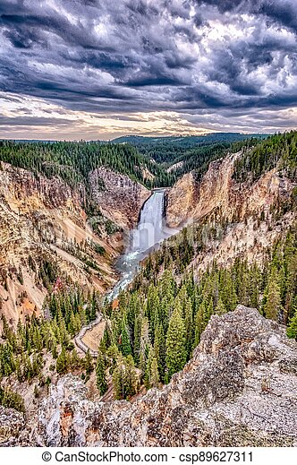 Lower Yellowstone Falls in the Yellowstone National Park - csp89627311