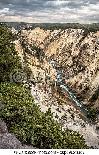 Lower Yellowstone Falls in the Yellowstone National Park - csp89628387