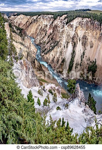 Lower Yellowstone Falls in the Yellowstone National Park - csp89628455