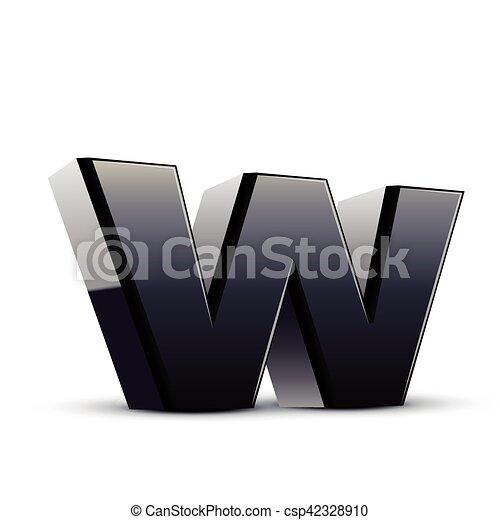 Lowercase Black Letter W Left Tilt Black Letter W 3d Illustration
