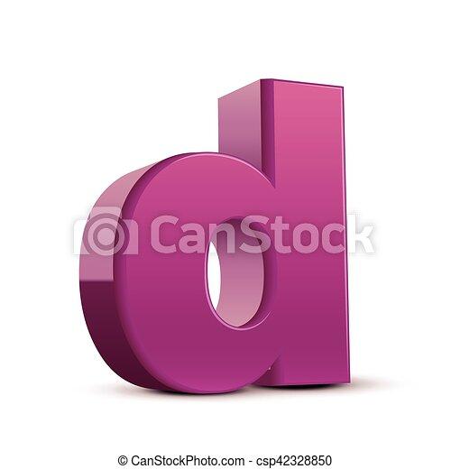 Lowercase Purple Letter D Left Tilt Purple Letter D 3d