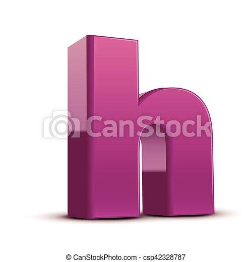 Lowercase purple letter h Left tilt purple letter h 3d vector