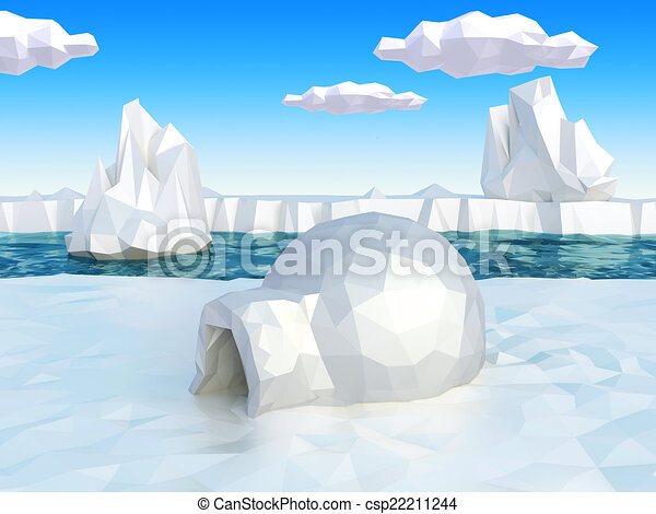 Lowpoly artic landscape with igloo - csp22211244