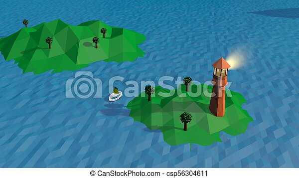 Lowpoly Landscape with a Lighthouse and Island - csp56304611