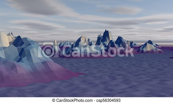 Lowpoly Landscape with Arctic Rocks - csp56304593