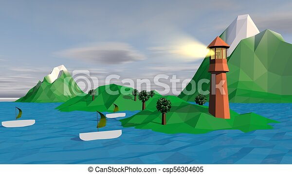Lowpoly Landscape with Boats, Islets, Spotlight - csp56304605