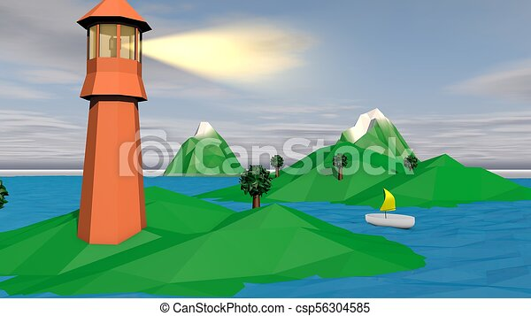 Lowpoly Landscape with Brown Tower and Islet - csp56304585