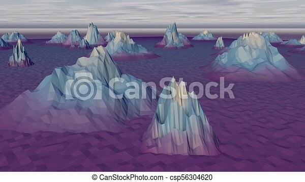 Lowpoly Landscape with Gloomy Arctic Rocks - csp56304620