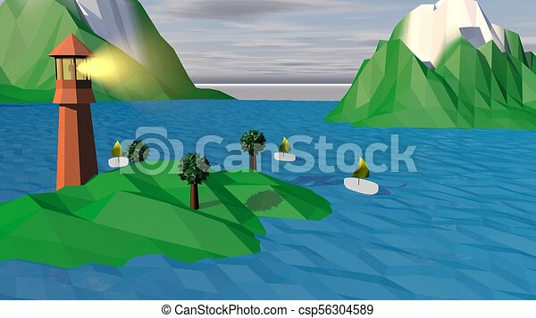 Lowpoly Landscape with Islands, Tower, Boats - csp56304589