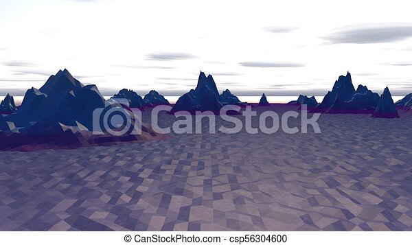 Lowpoly Landscape with North Polar Hills - csp56304600