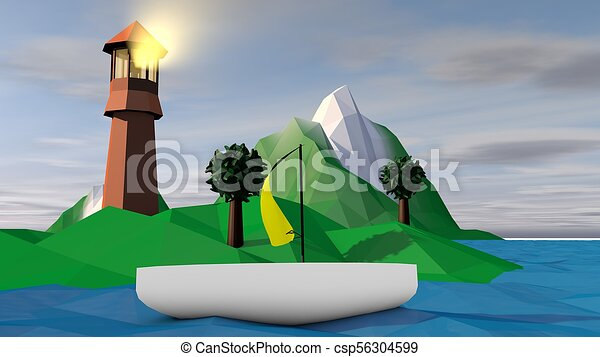 Lowpoly Landscape with Searchlight and Islet - csp56304599