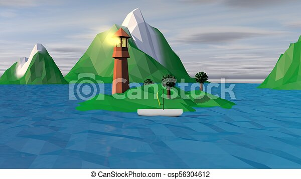 Lowpoly Landscape with Spotlight and Boat - csp56304612