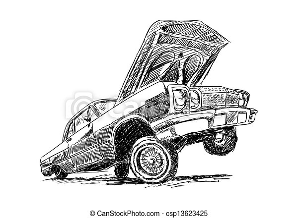Lowrider On White In Sketch Style Vector Illustration