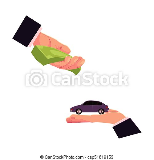 Loyer Concept Voiture Deux Donner Mains Achat Concept Argent Voiture Assurance Loyer Donner Automobile Deux