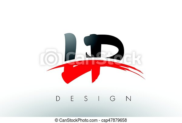 lp l p brush logo letters with red and black swoosh brush clipart rh canstockphoto com