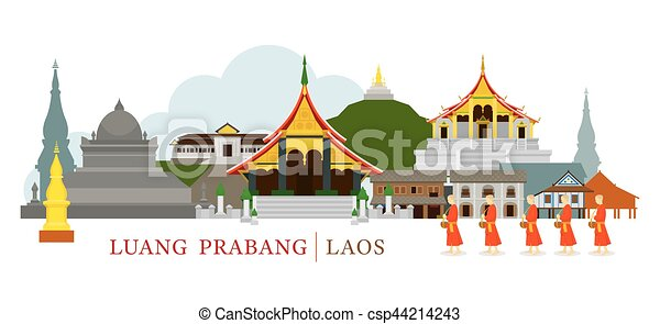Luang Prabang, Laos, Landmarks and Monks on Alms Round - csp44214243