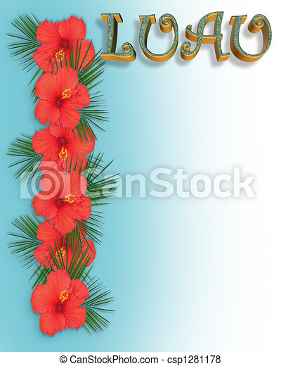 luau invitation background image and illustration composition for