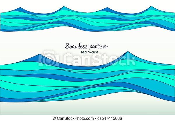 Luce Blu Onde Stilizzato Motivi Dello Sfondo Marino Blu Surf