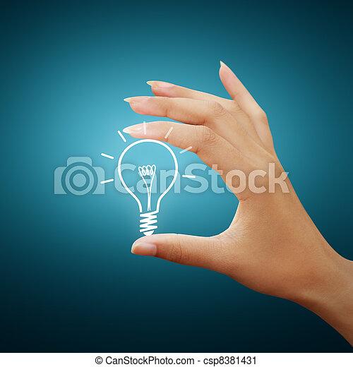 luce, disegno, idea, bulbo, mano - csp8381431