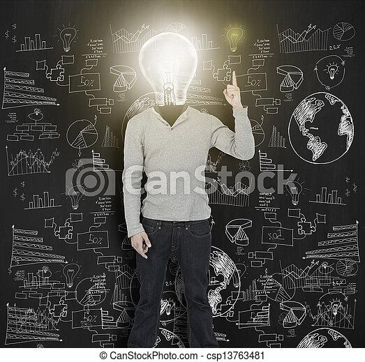 luce, luminoso, bulbo, lui, su, donna - csp13763481