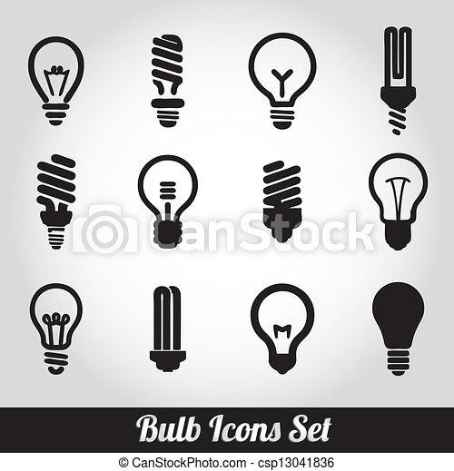 luce, set, bulbs., bulbo, icona - csp13041836
