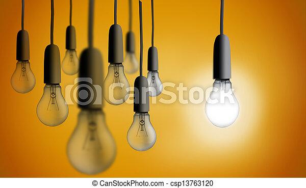 luce, uno, illuminazione, bulbo, su - csp13763120