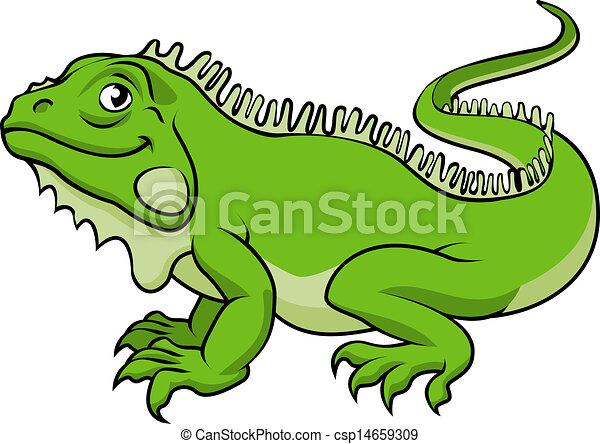 lucertola, cartone animato, iguana - csp14659309