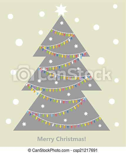Árbol de Navidad con luces - csp21217691
