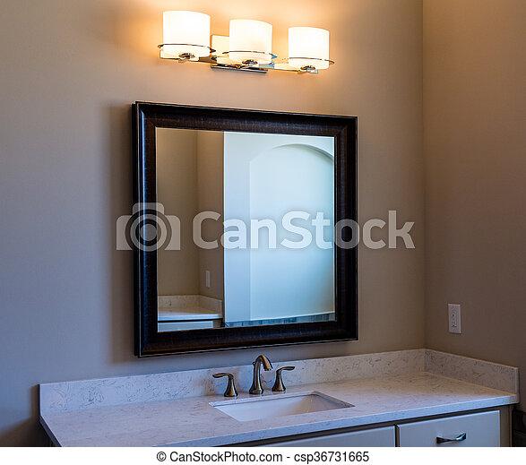 Luces, cuarto de baño, moderno, espejo de la vanidad.