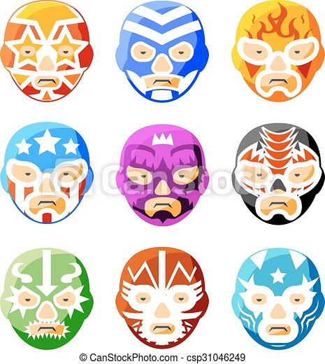 Lucha libre, luchador mexican wrestling masks color vector icons set ...