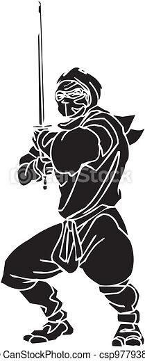 Un caza ninja, ilustración de vector. Ya está. - csp9779381