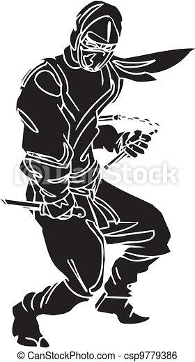 Un caza ninja, ilustración de vector. Ya está. - csp9779386