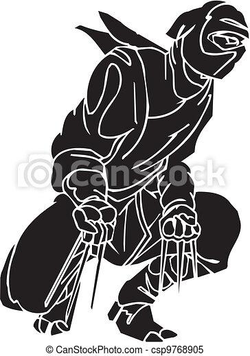 Un caza ninja, ilustración de vector. Ya está. - csp9768905