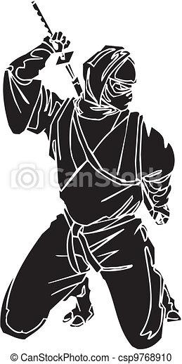 Un caza ninja, ilustración de vector. Ya está. - csp9768910