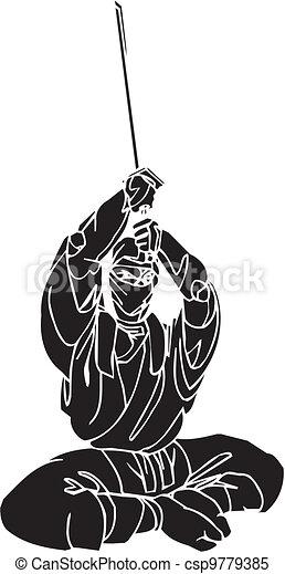 Un caza ninja, ilustración de vector. Ya está. - csp9779385