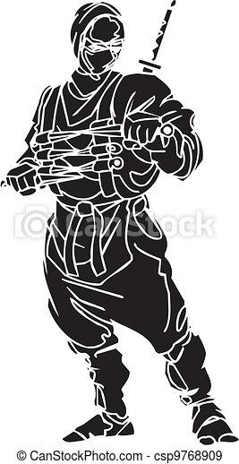 Un caza ninja, ilustración de vector. Ya está. - csp9768909