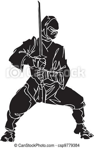 Un caza ninja, ilustración de vector. Ya está. - csp9779384