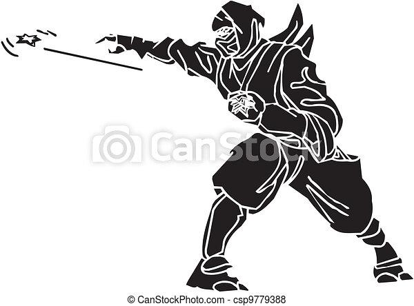 Un caza ninja, ilustración de vector. Ya está. - csp9779388