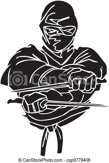 Un caza ninja, ilustración de vector. Ya está. - csp9779408