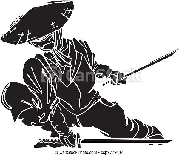 Un caza ninja, ilustración de vector. Ya está. - csp9779414