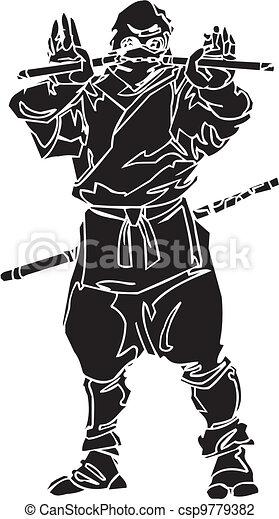 Un caza ninja, ilustración de vector. Ya está. - csp9779382