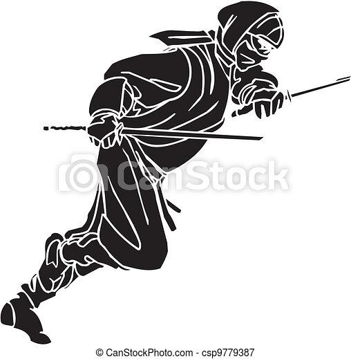 Un caza ninja, ilustración de vector. Ya está. - csp9779387